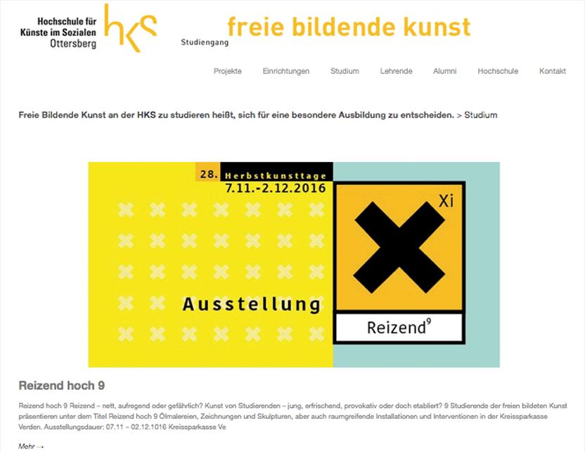 Website des Studiengangs Freie Bildende Kunst an der HKS Ottersberg
