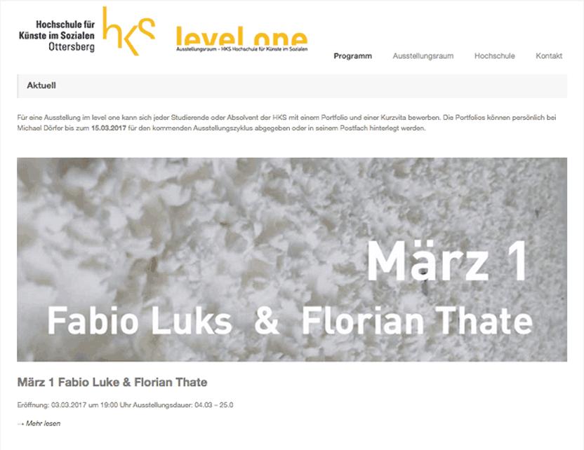 Website des Ausstellungsraum levelone, HKS Ottersberg