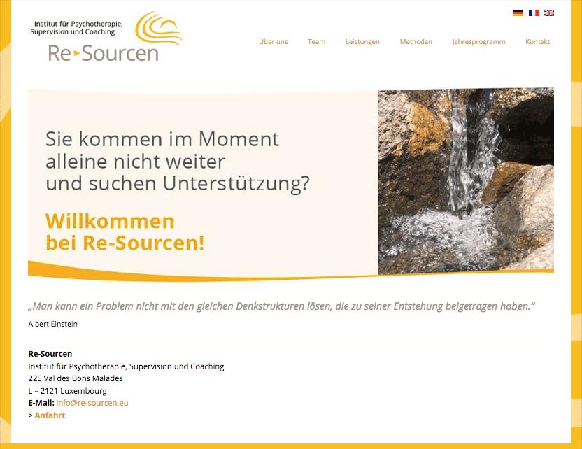 Website Institut Re-Sourcen, Luxemburg