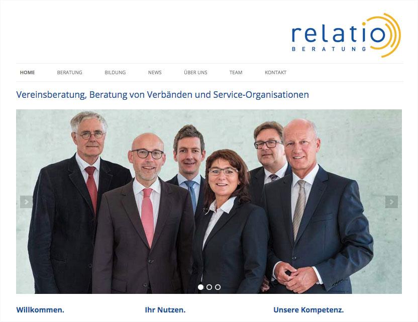 Website der relatio GmbH, München