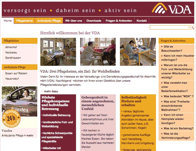 Website der VDA Mannheim