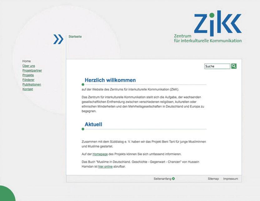 Website des Zentrums für interkulturelle Kommunikation der Hochschule für Jüdische Studien, Heidelberg