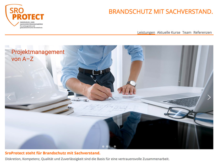 Website der SroProtect GmbH & Co. KG