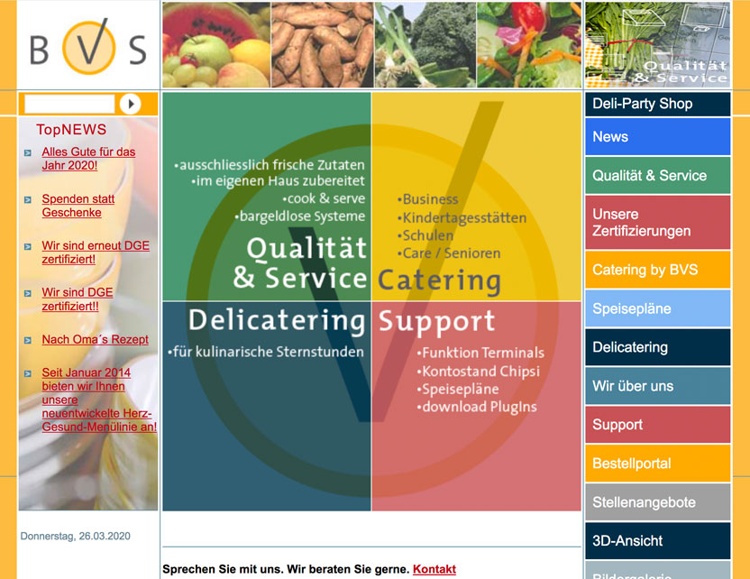 Website der BVS Catering GmbH & Co. KG, Mannheim