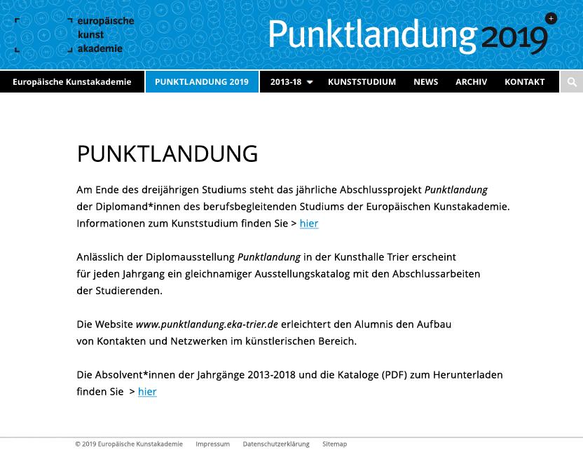 """Website """"Punktlandung"""" des berufsbegleitenden Studiums der Europäischen Kunstakademie Trier"""
